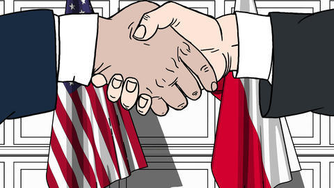 Businessmen or politicians shake hands against flags of USA and Poland. Official Footage