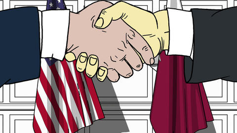 Businessmen or politicians shake hands against flags of USA and Qatar. Official Footage