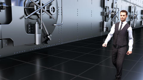 A young businessman goes by the safes in the Bank. Loopable Animation