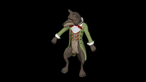 the toon wolf admires himself,loop,animation,transparent... Stock Video Footage