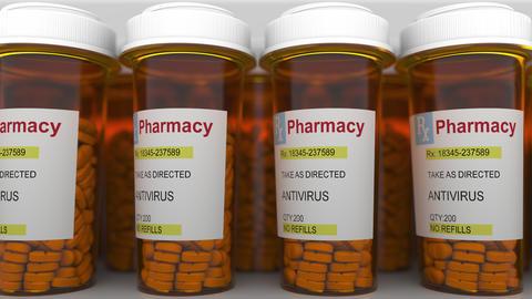 ANTIVIRUS caption on pill prescription bottles Live Action