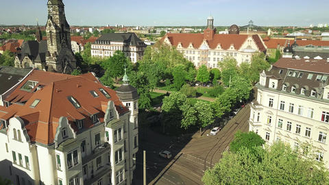 Aerial view of historic buildings in Leipzig including the Michaeliskirche Live Action