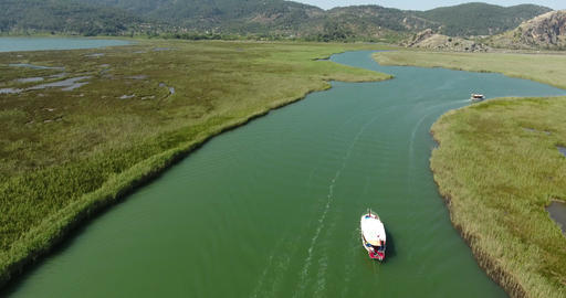 Dalyan Channel Boat Sailing, Turkey Footage