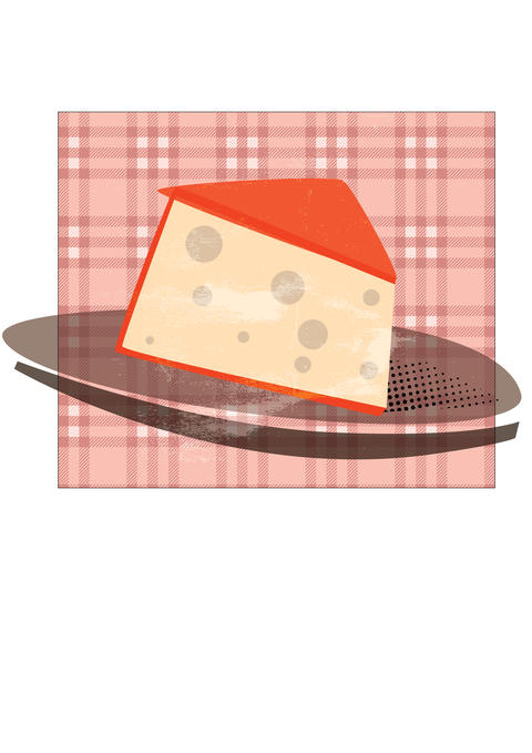 cheese plate illustration with vintage taste フォト