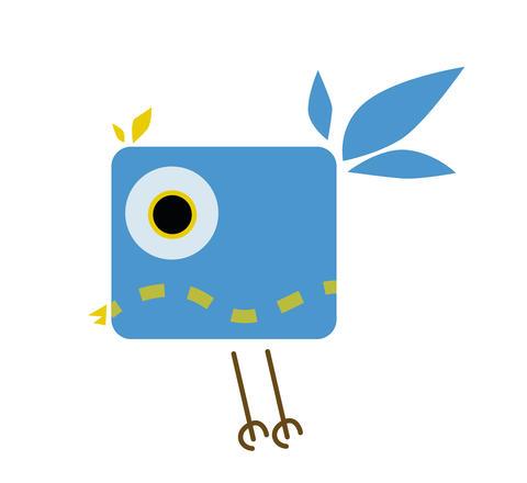 little colorful and joyful cartoon bird フォト