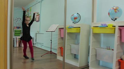 The Little Girl Ballerina Dance Mirror Footage