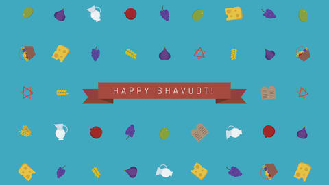 Shavuot holiday flat design animation background with traditional symbols Animation