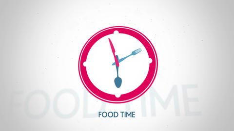 Food time symbol red clock flat animation Animation