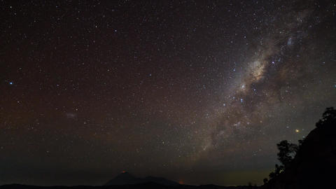 Milky Way Time Lapse At Mount Semeru, Indonesia stock footage