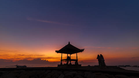 Sunrise Timelapse at a beach in Bali, Indonesia Live Action