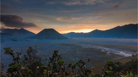 Sunset Time Lapse overlooking Mount Batok Footage
