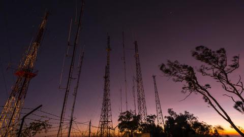 Sunrise Timelapse at Telecommunication Tower Footage