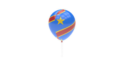 Democratic Republic of the Congo Balloon Rotating Flag Animation - Alpha Channel Animation