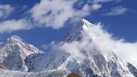 Pumo Ri Peak Himalayas Mountains Sunrise Time Lapse Zoom 4k Footage