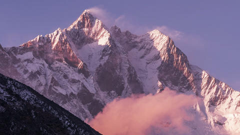 Time Lapse Zoom Out Lhotse Peak Sunset Himalayas Mountains 4k Footage