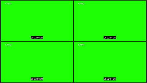 Cctv four cam with timecode chroma key Animation