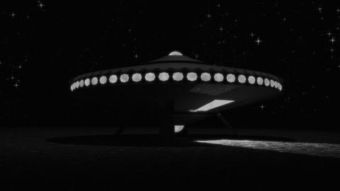 Vintage Alien Invasion: Flying Saucer Landing (Black and White) 애니메이션