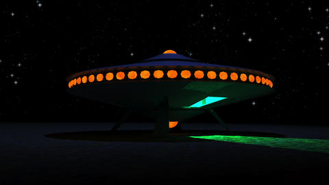 Vintage Alien Invasion: Flying Saucer Landing (Color) Animation