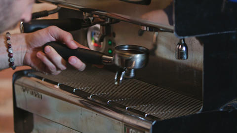Close-up of Espresso Pouring from Coffee Machine Footage