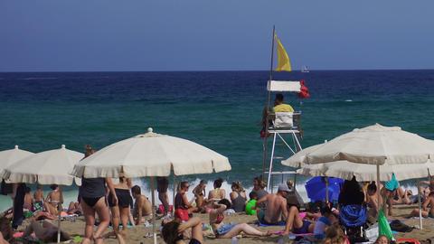 Barcelona, Spain Lifeguard on a Mediterranean beach GIF