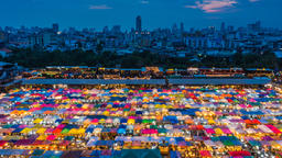 Twilight time at night market in Bangkok, Thailand Footage
