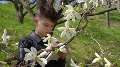 Teenager makes biology laboratory work in the park Live Action