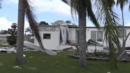 a trip after a hurricane, around ruined houses Footage