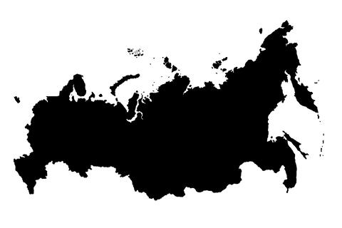 Map Of Russia Black Silhouette 3D Illustration フォト