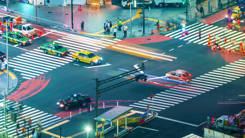 Time-lapse of a busy intersection in Shibuya, Tokyo Footage