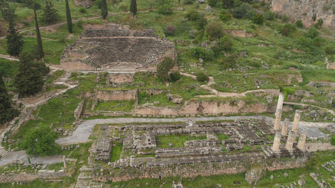 Aerial view of archaeological site of ancient Delphi, site of temple of Apollo Live Action