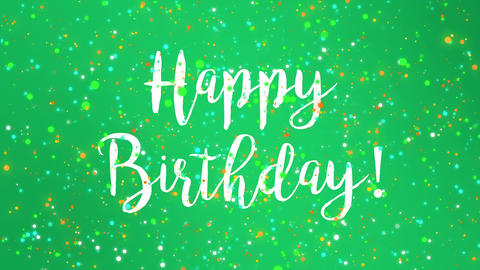 Sparkly green Happy Birthday greeting card video Animation