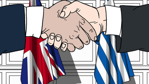 Businessmen or politicians shake hands against flags of Britain and Greece Live Action