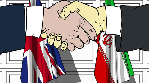 Businessmen or politicians shake hands against flags of Britain and Iran Live Action