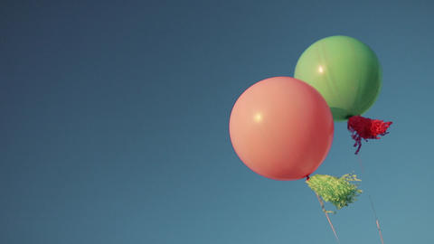 Color helium balloons in the sky GIF