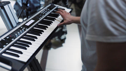 Man hands Playing the Piano Stock Video Footage