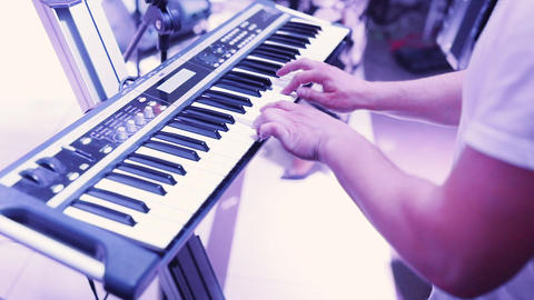 Man hands Playing the Piano Footage
