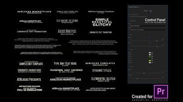 52 Cinematic Glitch Titles // MOGRT by AEBlocks モーショングラフィックステンプレート