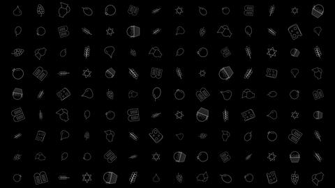 Shavuot holiday flat design animation background with traditional outline icon Animation