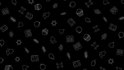 Shavuot holiday flat design animation background with traditional outline icon Animación