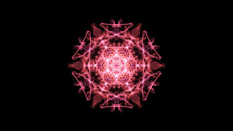 Red and orange fractal mandala rotating and zooming, video animation on black 애니메이션