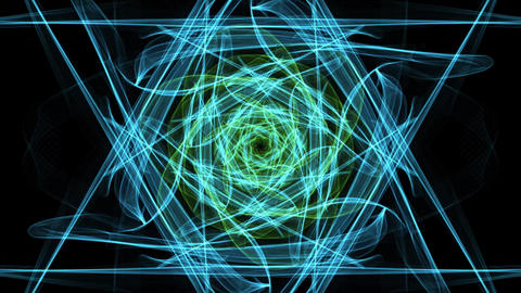Live green fractal mandala, video tunnel on black background. Animated symmetric Animation