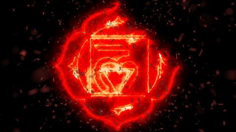 Muladhara Root Chakra Symbol Forming of Fire Live Action
