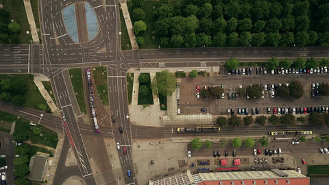 Aerial top down view of urban road traffic at major streets intersection Footage