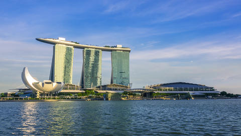 Evening Overlooking Marina Bay Sands Hotel. Time Lapse 영상물