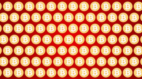 Bitcoin cryptocurrency red background coins pattern traffic horisontal Animación