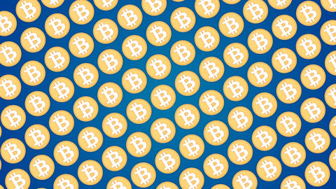 Bitcoin cryptocurrency blue background coins pattern traffic diagonal Animación
