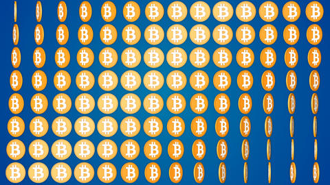 Bitcoin cryptocurrency blue background rotating coins pattern Animation