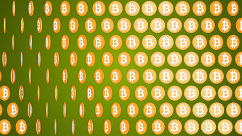 Bitcoin cryptocurrency green background rotating coins pattern 애니메이션