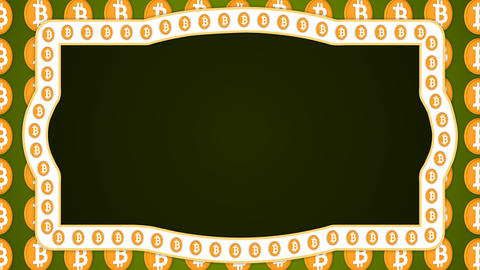 Bitcoin cryptocurrency green background vintage border frame banner GIF