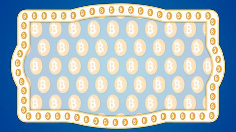 Bitcoin cryptocurrency blue background vintage border frame banner Animation